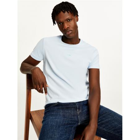 t-shirt col rond à logo brodé